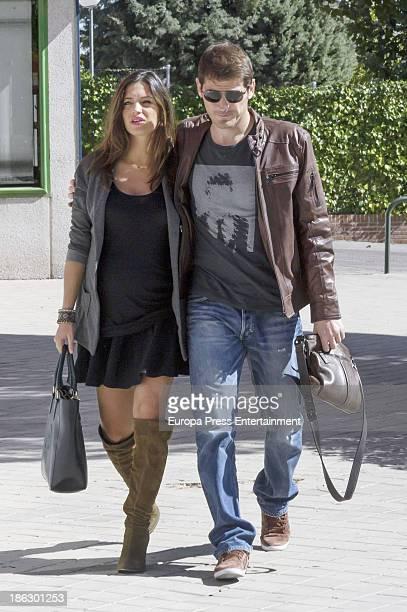 Real Madrid goalkeeper Iker Casillas and Sara Carbonero are seen on October 6 2013 in Madrid Spain