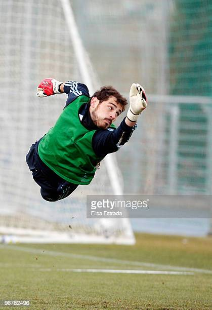 Real Madrid goalkeeper Iker Casillas in action during a training session at Valdebebas on February 17, 2010 in Madrid, Spain. .