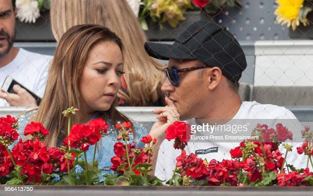 Real Madrid goalkeeper Keylor Navas and his wife Andrea Salas during day three of the Mutua Madrid Open tennis tournament at the Caja Magica on May 8...