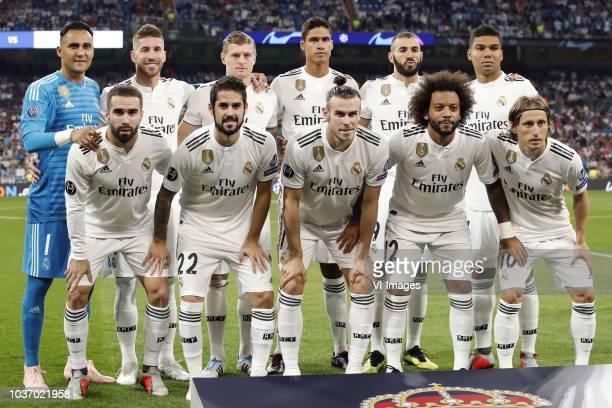 Real Madrid goalkeeper Keylor Navas Sergio Ramos of Real Madrid Toni Kroos of Real Madrid Raphael Varane of Real Madrid Karim Benzema of Real Madrid...