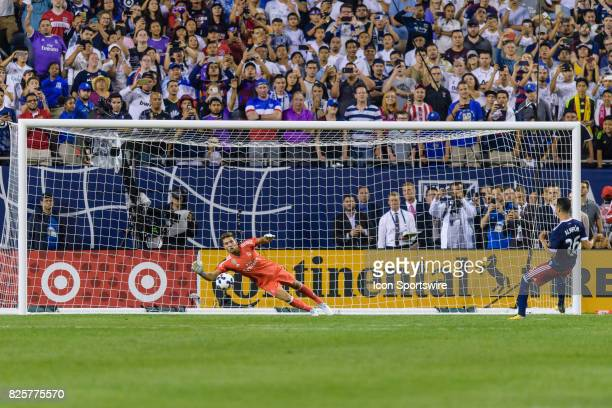 Real Madrid goalkeeper Luca Zidane dives after a MLS AllStar and Atlanta United FC Midfielder Miguel Almiron missed postgame penalty kick during a...