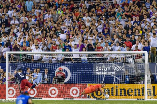 Real Madrid goalkeeper Luca Zidane saves a MLS AllStar and Orlando City FC Forward Dom Dwyer postgame penalty kick during a soccer match between the...