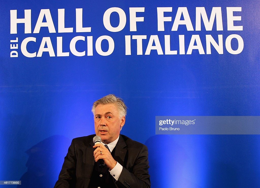 Real Madrid head coach Carlo Ancelotti attends the Italian Football Federation Hall of Fame Award ceremony at Palazzo Vecchio on January 19, 2015 in Florence, Italy.