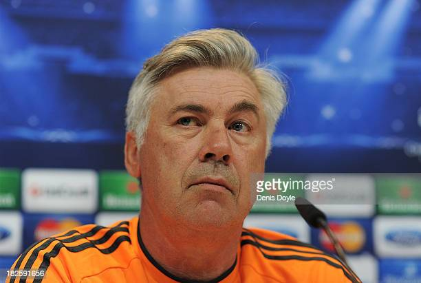Real Madrid head coach Carlo Ancelotti holds a joint press conference with Real player Sergio Ramos ahead of the Real Madrid v FC Kebenhavn Champions...