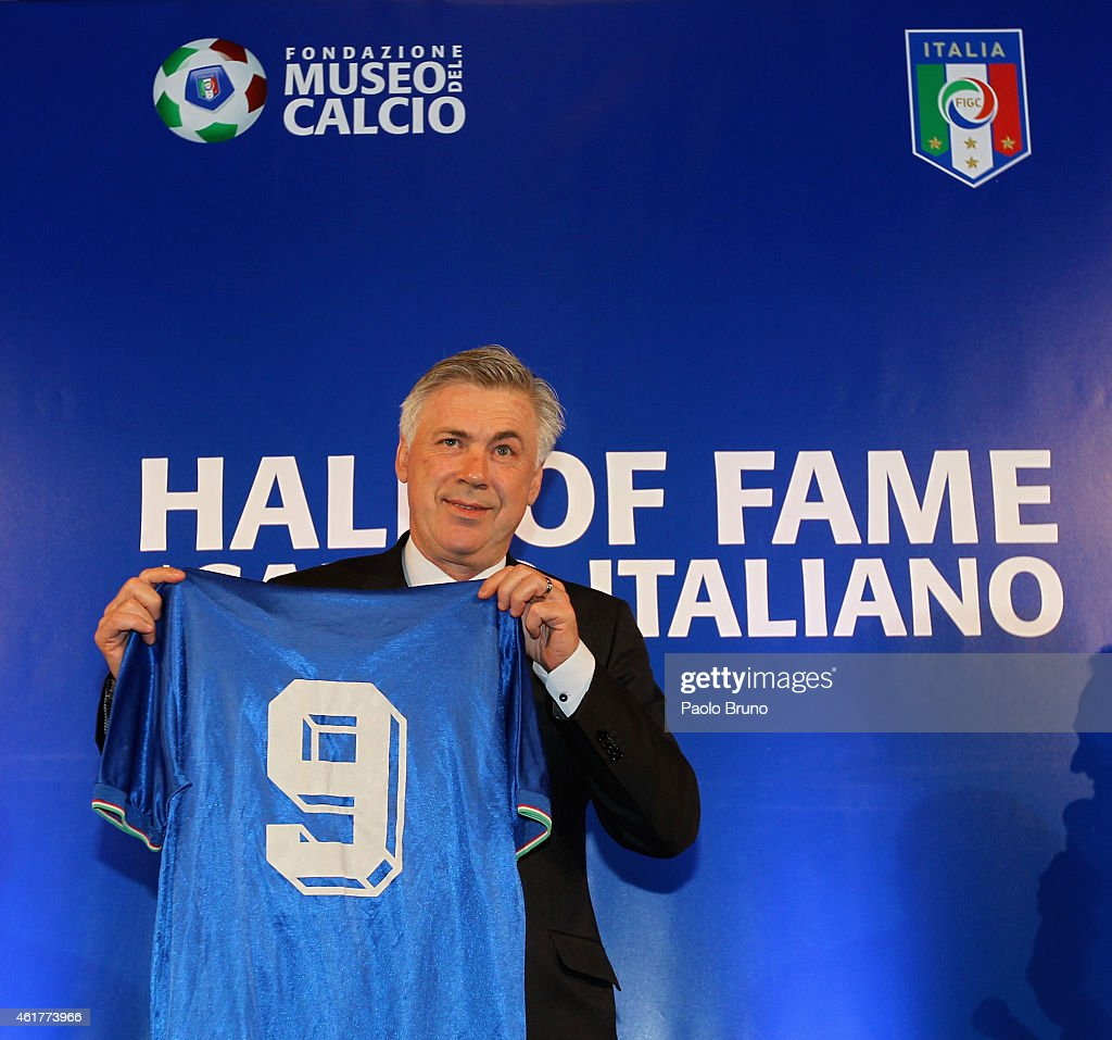 Real Madrid head coach Carlo Ancelotti poses during the Italian Football Federation Hall of Fame Award ceremony at Palazzo Vecchio on January 19, 2015 in Florence, Italy.