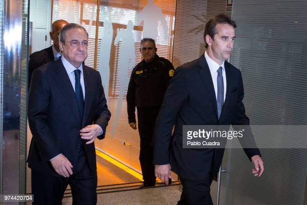 Real Madrid head coach Julen Lopetegui and President of Real Madrid Florentino Perez attend a press conference at Estadio Santiago Bernabeu on June...