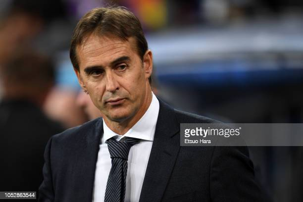 Real Madrid head coach Julen Lopetegui looks on prior to the Group G match of the UEFA Champions League between Real Madrid and Viktoria Plzen at...