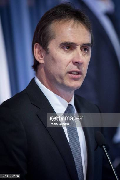 Real Madrid head coach Julen Lopetegui speaks during a press conference at Estadio Santiago Bernabeu on June 14 2018 in Madrid Spain Julen Lopetegui...