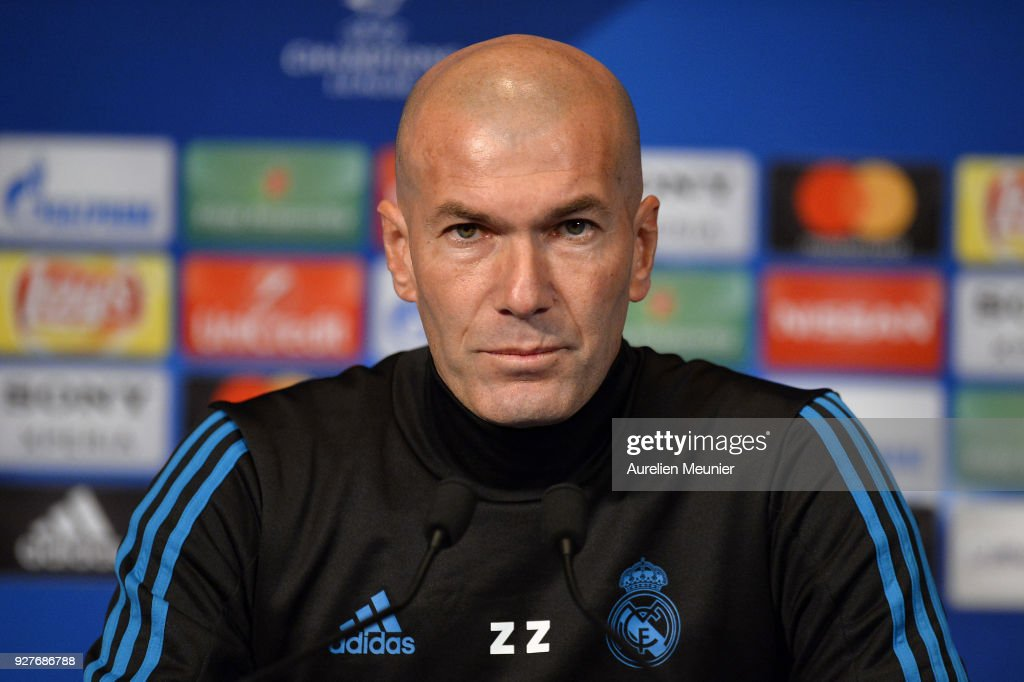 Real Madrid Head Coach Zinedine Zidane answers questions during a press conference ahead of the Champion's League match against Paris Saint-Germain at Parc des Princes on March 5, 2018 in Paris, France.