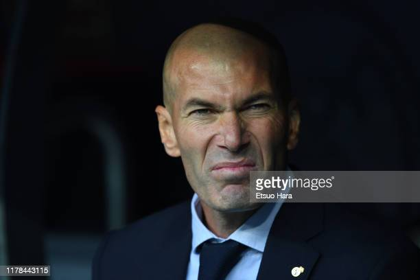 Real Madrid head coach Zinedine Zidane looks on prior to the UEFA Champions League group A match between Real Madrid and Club Brugge KV at Santiago...