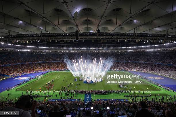 Real Madrid lift the trophy during the UEFA Champions League final between Real Madrid and Liverpool on May 26 2018 in Kiev Ukraine
