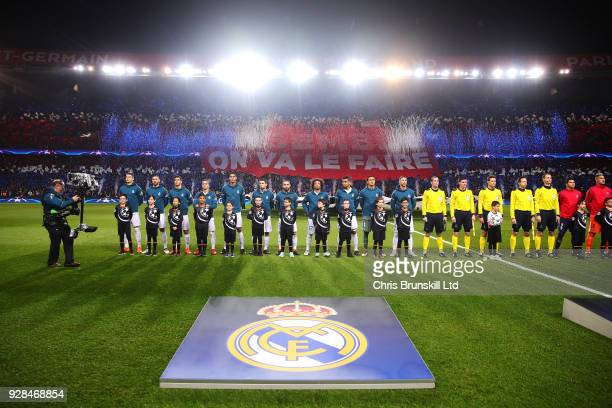 Real Madrid line up ahead of the UEFA Champions League Round of 16 Second Leg match between Paris SaintGermain and Real Madrid at Parc des Princes on...
