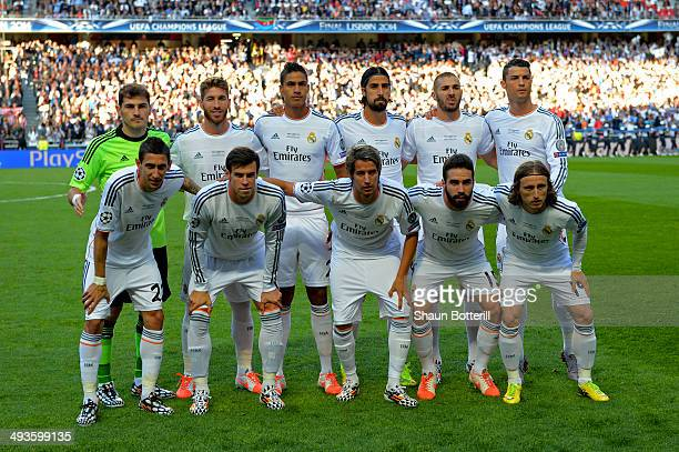 Real Madrid line up during the UEFA Champions League Final between Real Madrid and Atletico de Madrid at Estadio da Luz on May 24 2014 in Lisbon...