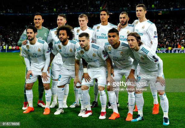 Real Madrid line up during the UEFA Champions League Round of 16 First Leg match between Real Madrid and Paris SaintGermain at Bernabeu on February...