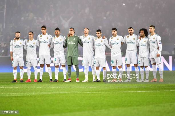 Real Madrid line up for a minute of silence in memory of Italian footballer Davide Astori who died at the weekend during the UEFA Champions League...