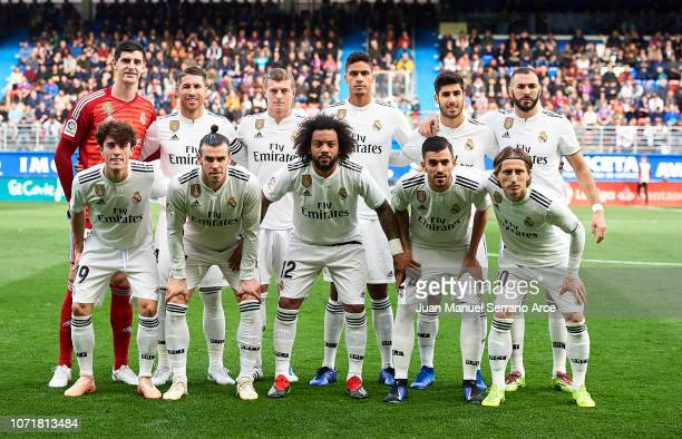 Real Madrid line up for a team photo prior to the La Liga match between SD Eibar and Real Madrid CF at Ipurua Municipal Stadium on November 24 2018...