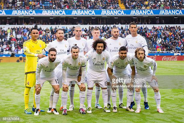 Real Madrid line up for a team photo prior to the start the La Liga match between RC Deportivo La Coruna and Real Madrid CF at Riazor Stadium on May...