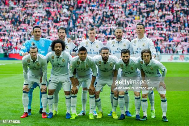 Real Madrid line up for a team photo prior to the start the La Liga match between Athletic Club Bilbao and Real Madrid at San Mames Stadium on March...