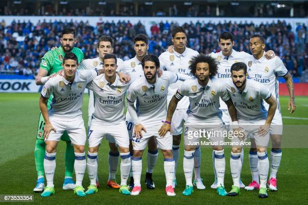 Real Madrid line up for a team photo prior to the start the La Liga match between RC Deportivo La Coruna and Real Madrid at Riazor Stadium on April...
