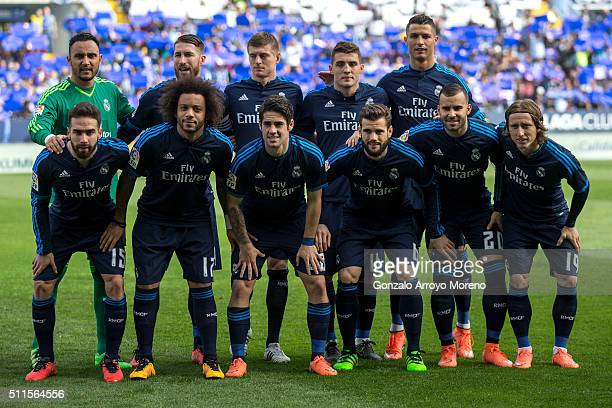 Real madrid line up prior to start the La Liga match between Malaga CF and Real Madrid CF at La Rosaleda Stadium on February 21 2016 in Malaga Spain