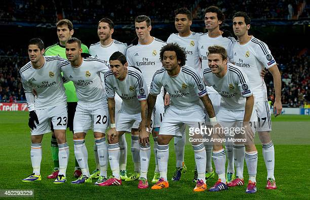 Real Madrid line up prior to start the UEFA Champions League group B match between Real Madrid CF and Galatasaray AS at Estadio Santiago Bernabeu on...