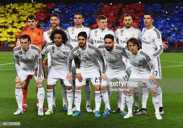 Real Madrid line up prior to the La Liga match between FC ...