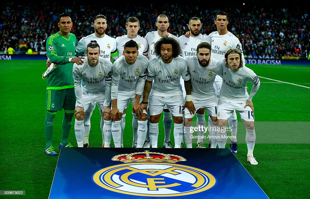 Real Madrid line up prior to the UEFA Champions League ...