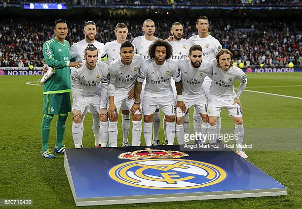 Real Madrid line up prior to the UEFA Champions League quarter final second leg match between Real Madrid and VfL Wolfsburg at Estadio Santiago...