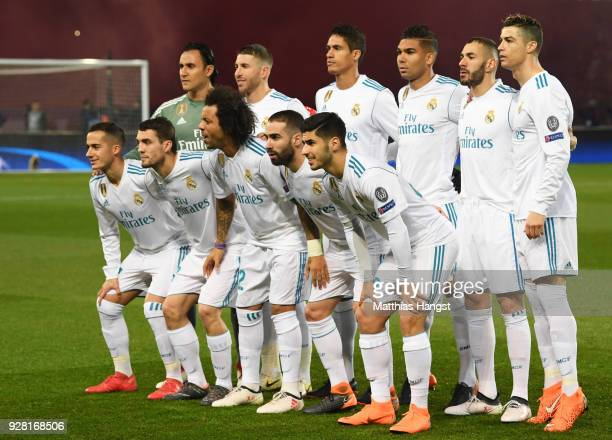 Real Madrid line up prior to the UEFA Champions League Round of 16 Second Leg match between Paris SaintGermain and Real Madrid at Parc des Princes on...
