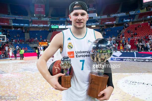 Real Madrid Luka Doncic celebrating the championship during Liga Endesa Finals match between Kirolbet Baskonia and Real Madrid at Fernando Buesa...