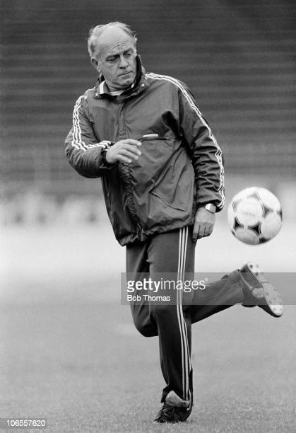 Real Madrid manager Alfredo Di Stefano during a team training session in Gothenburg Sweden on the 10th May 1983