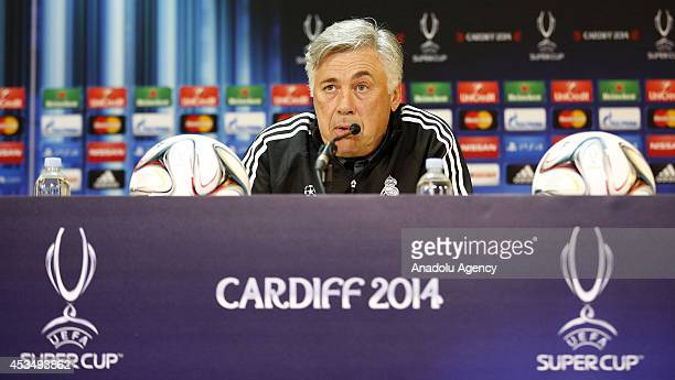 Real Madrid Manager Carlo Ancelotti speaks to the media during the Real Madrid press conference prior to the UEFA Super Cup match between Real Madrid...