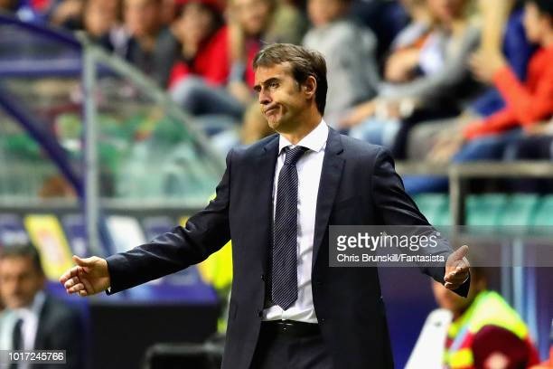 Real Madrid manager Julen Lopetegui looks on during the UEFA Super Cup between Real Madrid and Atletico Madrid at Lillekula Stadium on August 15 2018...