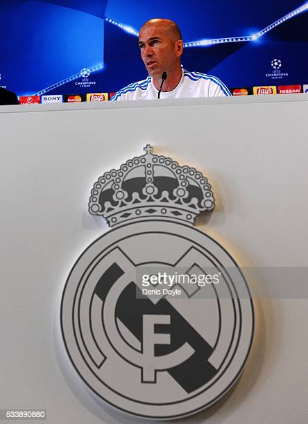 Real Madrid manager Zinedine Zidane attends a press conference during the Real Madrid Open Media Day ahead of the UEFA Champions League Final against...