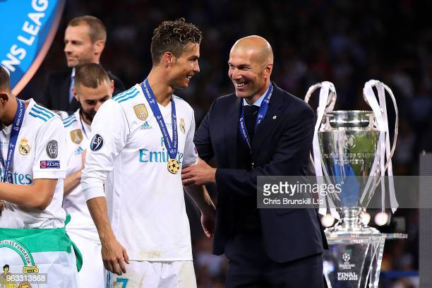 Real Madrid manager Zinedine Zidane embraces Cristiano Ronaldo following the UEFA Champions League final between Real Madrid and Liverpool at the NSC...