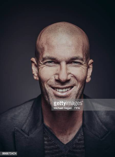 Real Madrid manager Zinedine Zidane of France poses during The Best FIFA Football Awards at The May Fair Hotel on October 23 2017 in London England