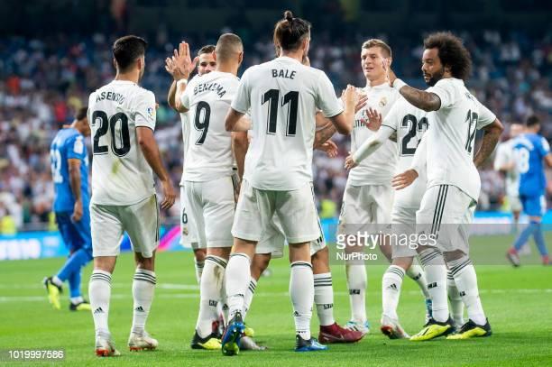 Real Madrid Marco Asensio Nacho Fernandez Karim Benzema Gareth Bale Toni Kroos and Marcelo celebrating a goal during La Liga match between Real...