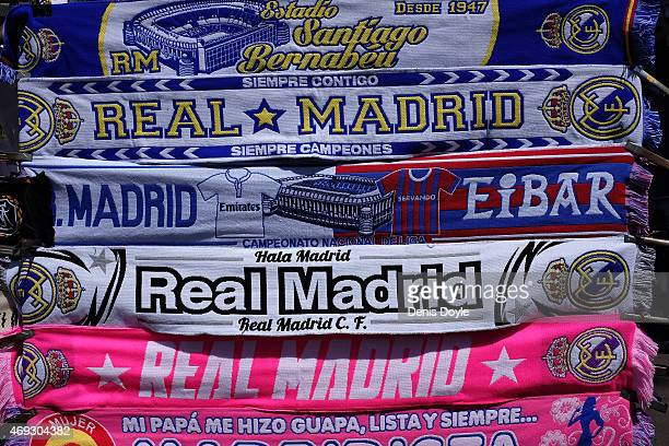 Real Madrid merchandise is for sale at a stall for the La Liga match between Real Madrid and Eibar at Estadio Santiago Bernabeu on April 11 2015 in...
