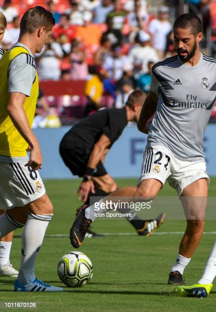 Real Madrid midfielder Francisco Roman Alarcon warms up prior to an International Champions Cup match between Real Madrid and Juventus on August 4 at...