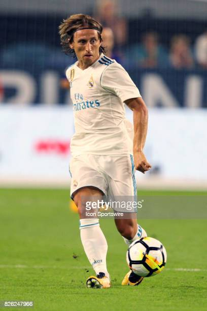 Real Madrid midfielder Luka Modric in action during the first half of the International Champions Cup against Barcelona at Hard Rock Stadium in Miami...