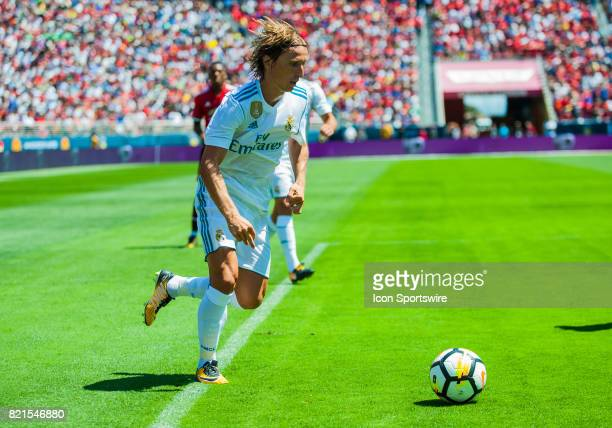 Real Madrid midfielder Luka Modric tries to score during the International Champions Cup match between Real Madrid verses Manchester United on July...