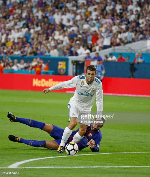 Real Madrid midfielder Mateo Kovacic scores a goal during the first half against Barcelona in International Champions Cup action on Saturday July 29...