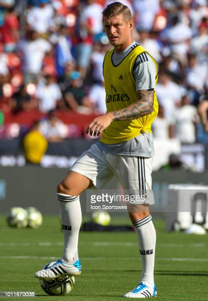 Real Madrid midfielder Toni Kroos warms up prior to an International Champions Cup match between Real Madrid and Juventus on August 4 at FedEx Field...