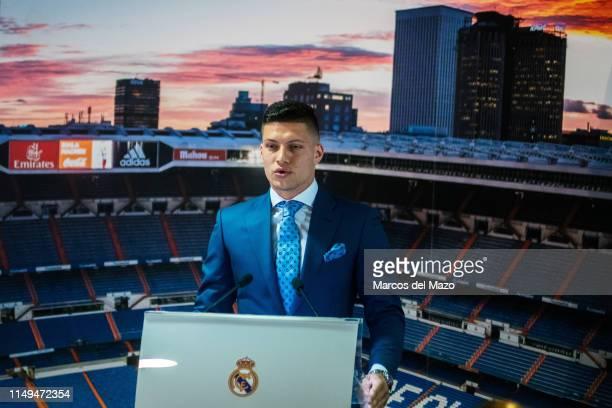 Real Madrid new player Luka Jovic presentation in Santiago Berbabeu Stadium