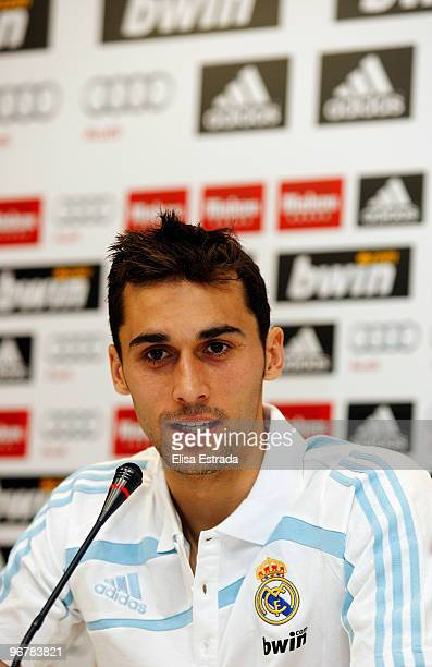 Real Madrid player Alvaro Arbeloa gives a press conference after a training session at Valdebebas on February 17 2010 in Madrid Spain