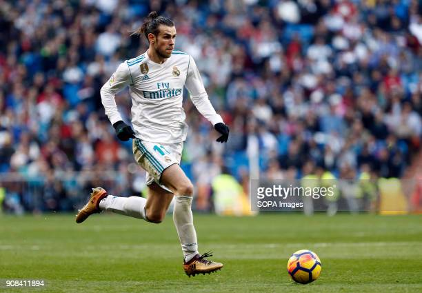 Real Madrid player Bale in action during the match Real Madrid faced Deportivo de la Coruña at the Santiago Bernabeu stadium during the Spanish...