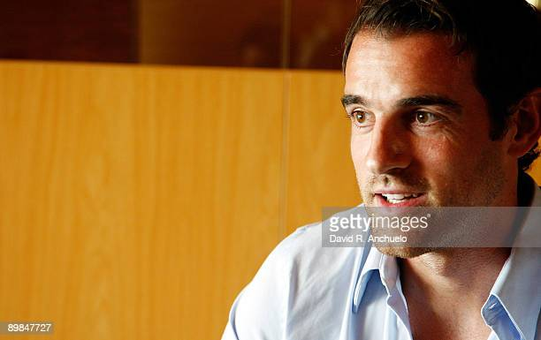 Real Madrid player Christoph Metzelder attends an interview for Real Madrid TV at Valdebebas on August 17, 2009 in Madrid, Spain.