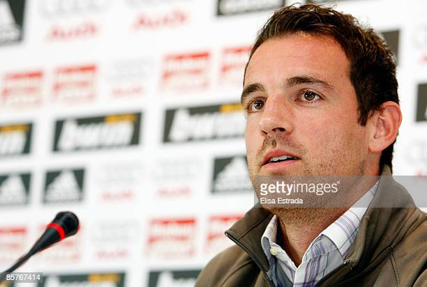 Real Madrid player Christoph Metzelder gives a press conference after a training session at Valdebebas on April 2 2009 in Madrid Spain