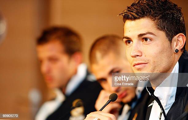 Real Madrid player Cristiano Ronaldo looks on during the press conference at Santiago Bernabeu on December 4 2009 in Madrid Spain
