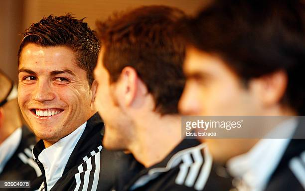 Real Madrid player Cristiano Ronaldo smiles during the press conference at Santiago Bernabeu on December 4 2009 in Madrid Spain